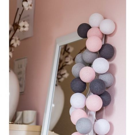 Cotton ball lights regular 20 lights roze